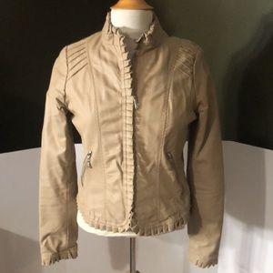 Jou Jou Light Tan Faux Leather Jacket W/Ruffle M